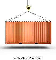 3D rendering of a crane hook with a cargo container