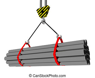3D rendering of a crane hook with a load of metal rolled products . 3d rendered illustration
