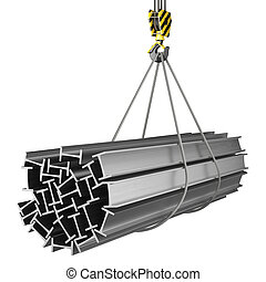 3D rendering of a crane hook with a load of metal rolled...