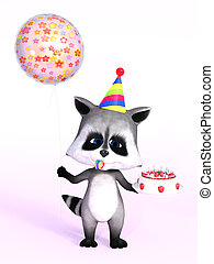 3D rendering of a cute cartoon raccoon holding cake and balloon.