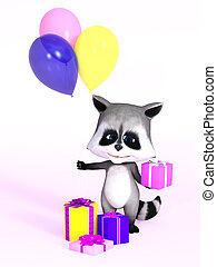 3D rendering of a cute cartoon raccoon holding gift and balloons.
