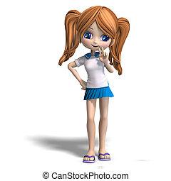 cute cartoon school girl - 3D rendering of a cute cartoon ...