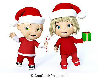 3D rendering of a cute toddler boy and girl at Christmas.