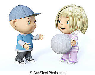 3D rendering of a cute toddler boy and girl playing ball.