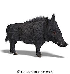 dangerous black boar is stiff-bristled - 3D rendering of a ...