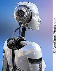 3D rendering of a female android robot.