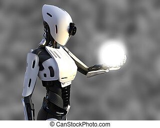 3D rendering of a female android robot holding energy sphere.