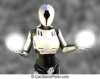 3D rendering of a female android robot holding energy spheres.