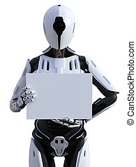 3D rendering of a female android robot holding sign.