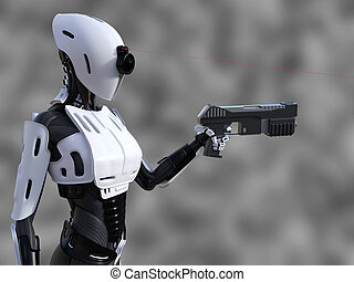 3D rendering of a female android robot with gun.
