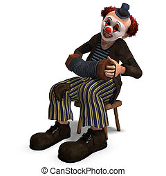 funny circus clown with lot of emotions - 3D rendering of a...