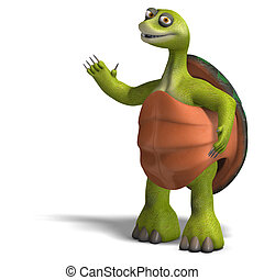 funny toon turtle enjoys life - 3D rendering of a funny toon...