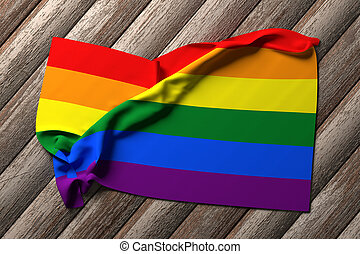 gay flag - 3d rendering of a gay flag on a wooden table