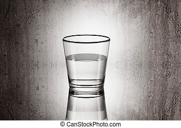glass of water - 3d rendering of a glass of water on a dirty...