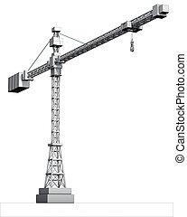 gray crane - 3d rendering of a gray crane