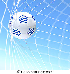 3d rendering of a Greece flag on soccer ball in a net