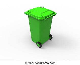 3D rendering of a green consumer trash waste bin container.