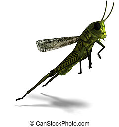 green grasshopper - 3D rendering of a green grasshopper with...