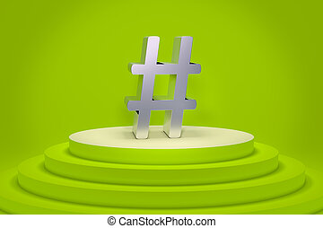 a green podium with a hashtag