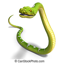 green tree python - 3D rendering of a green tree python with...