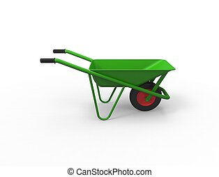 3D rendering of a green wheelbarrow isolated in white background