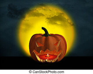 3D rendering of a halloween pumpkin with a big moon in the background.