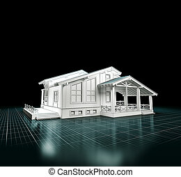 3D rendering of a house project. Architecture