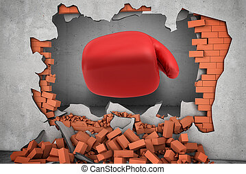 3d rendering of a huge red boxing glove punches right throw a red brick wall with rubble lying around.