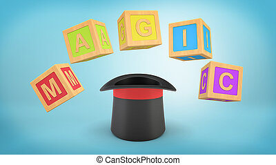 3d rendering of a illusionist's hat standing upside down with large colorful cubes making a word MAGIC above it.
