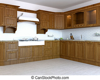 3D-rendering of a kitchen in a coun