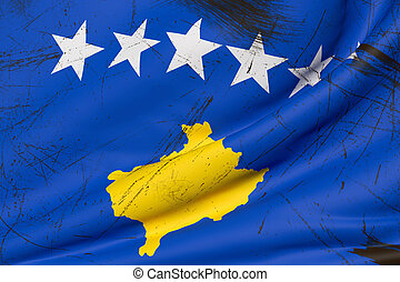 3d rendering of a Kosovo flag waving
