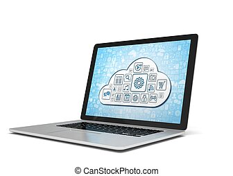 3d rendering of a laptop with cloud concept