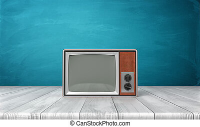 3d rendering of a large old-style CRT TV set in a brown frame standing on a wooden desk.