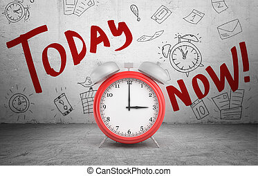 3d rendering of a large red ringing alarm clock stands on concrete background with words Today and Now.