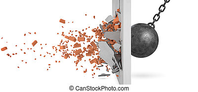 3d rendering of a large swinging wrecking ball crashing at a brick wall with pieces from the wall flying away in side view.