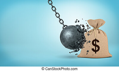 3d rendering of a large wrecking ball hitting a big hessian money bag and breaking itself.