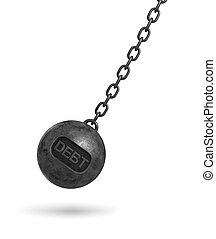 3d rendering of a large wrecking ball with a lettering DEBT swinging on a chain on white background.