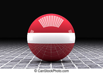 Latvia flag - 3d rendering of a Latvia flag on an sphere
