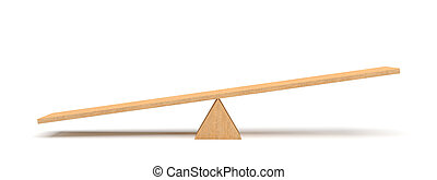 3d rendering of a light wooden seesaw with the left side...