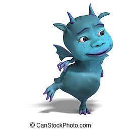 little blue cute toon dragon devil