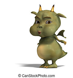 little green cute toon dragon devil