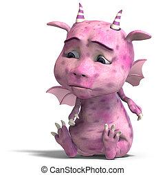 little pink cute toon dragon devil - 3D rendering of a ...