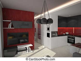 3d rendering of a living room design