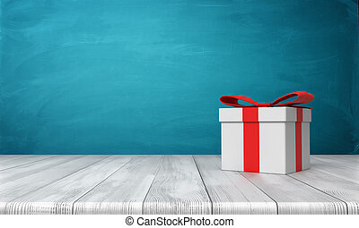 3d rendering of a lone white gift box with a red bow standing on a wooden desk in front of a blue background.