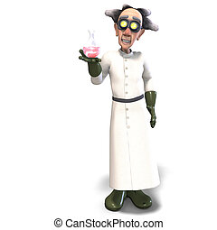 3D rendering of a mad scientist with dangerous fluid with clipping path and shadow over white