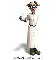 mad scientist with dangerous fluid - 3D rendering of a mad ...