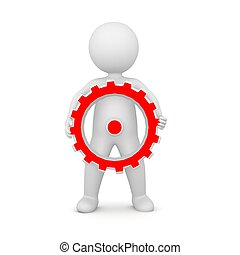 3D Rendering of a man holding a gear