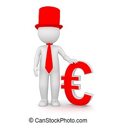 3D Rendering of a man holding an Euro symbol
