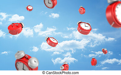 3d rendering of a many red retro-looking alarm clocks with metal bells fall down on cloudy sky background.