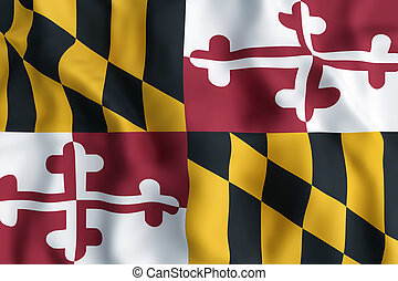 Maryland State flag - 3d rendering of a Maryland State flag